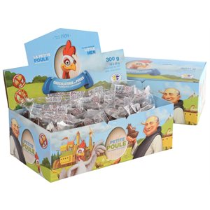 Présentoir avec 12 petites poules de 25g au chocolat au Lait