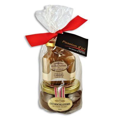 Duo Caramel à la fleur de sel & Fondue chocolat noir - La Chocolaterie du Vieux Beloeil