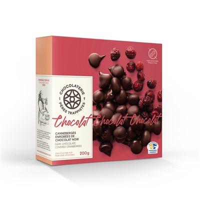 Canneberges enrobées de chocolat noir - Chocolaterie des Pères Trappistes 200g